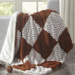 Chocolate Checkered Sherpa Throw